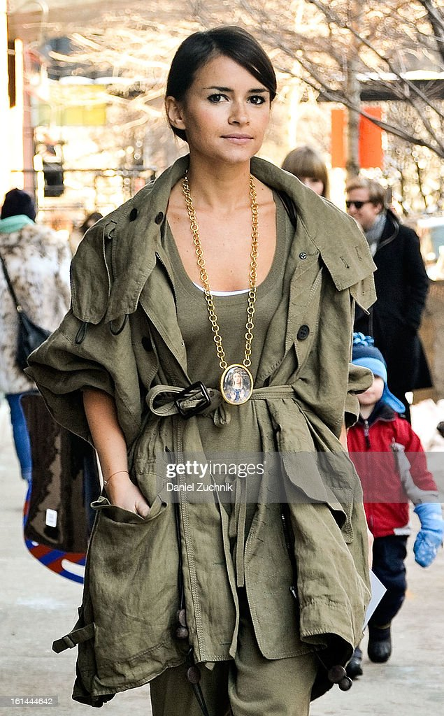 Miroslava Duma seen outside the Thakoon show on February 10, 2013 in New York City.