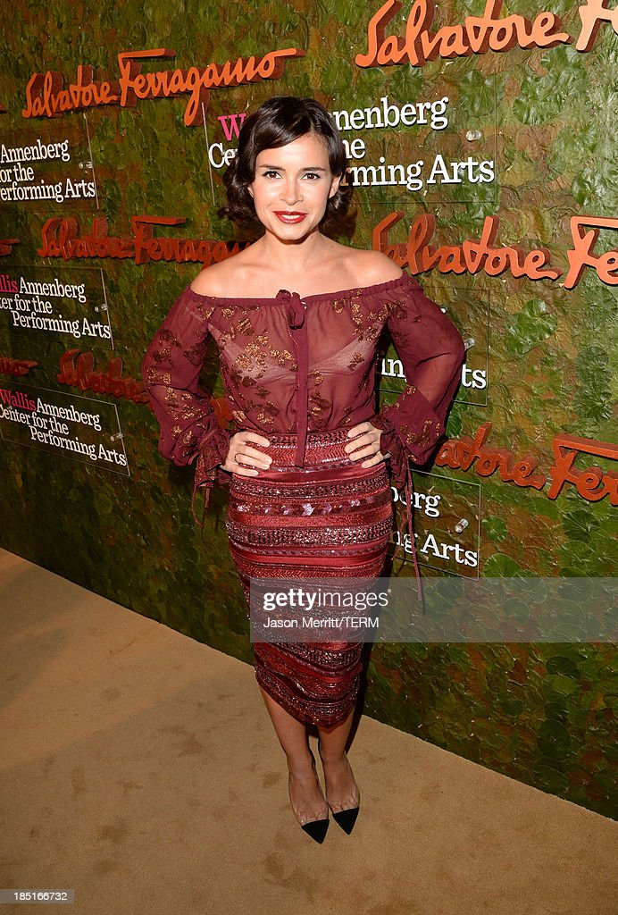 Miroslava Duma, wearing Ferragamo, arrives at the Wallis Annenberg Center for the Performing Arts Inaugural Gala presented by Salvatore Ferragamo at the Wallis Annenberg Center for the Performing Arts on October 17, 2013 in Beverly Hills, California.