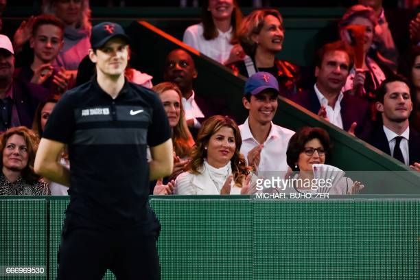 Miroslava 'Mirka' Vavrinec Federer wife of Swiss tennis superstar Roger Federer attends a charity match 'The Match for Africa 3' between Britain's...