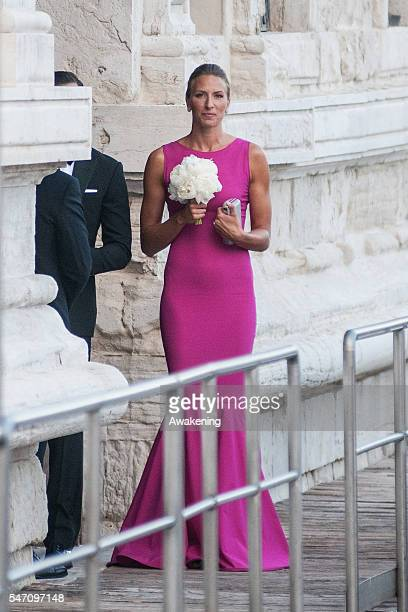 Miroslava Najdanovski with the bouquet leaves the Aman Grand Canal Hotel to reach the church of the wedding of Bastian Schweinsteiger and Ana...
