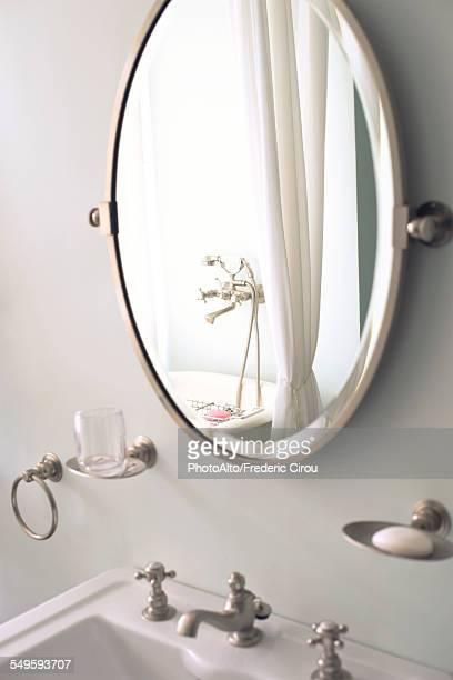 Mirror above bathroom sink