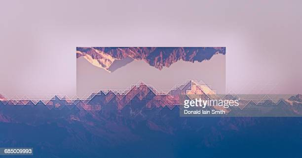 Mirror images of mountain landscape