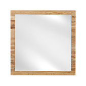 Mirror in beach wooden frame - isolated on white