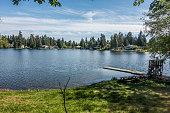 A view of Mirror Lake in Federal Way, Washington.