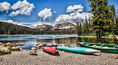A nice day of Kayaking, Fishing and Hiking around Mirror Lake in the Mountains of Utah.