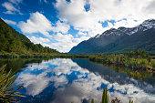 Mirror Lake, Milford Road, New Zealand.