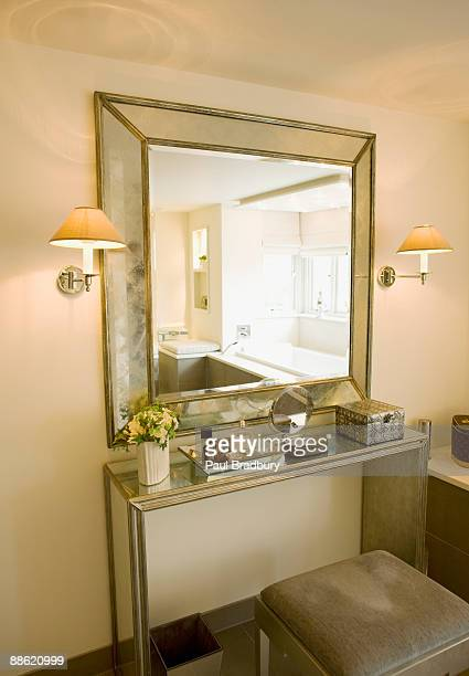 Mirror, vanity table and stool