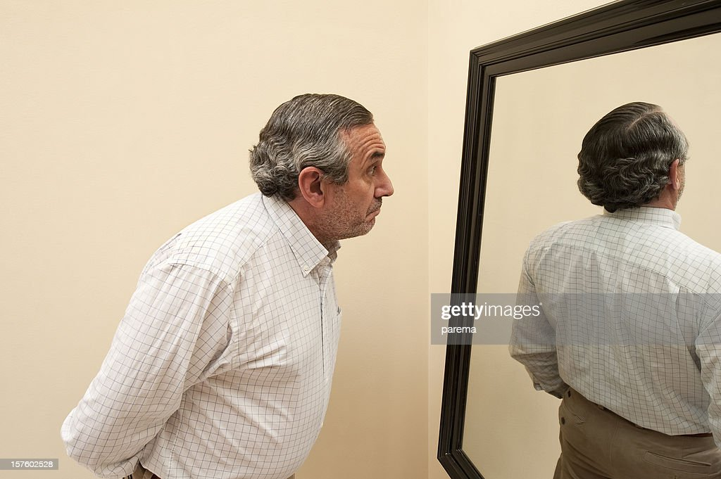 Mirror with bizarre reflection.