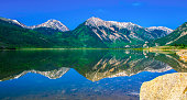 Mirrored Reflection of Rocky Mountains Highest Peak in Colorado Mount Elbert and Twin Peaks on a gorgeous summer day in morning sunshine with a blue sky at Twin Lakes , Colorado my favorite place to s