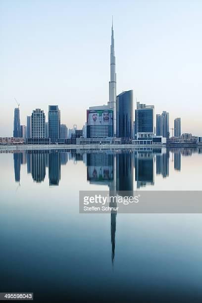 Mirrored skyline of Dubai.