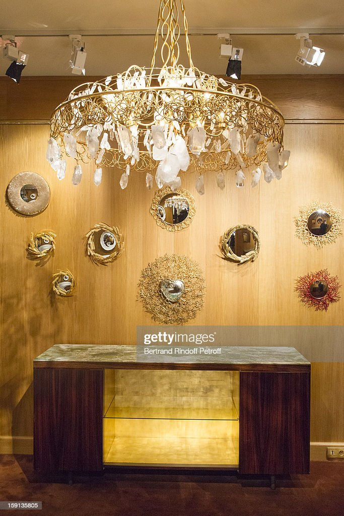 Mirrors by Robert Goosens are displayed during the 'Sorcieres' (Witches) exhibition preview at Galerie Pierre Passebon on January 8, 2013 in Paris, France.