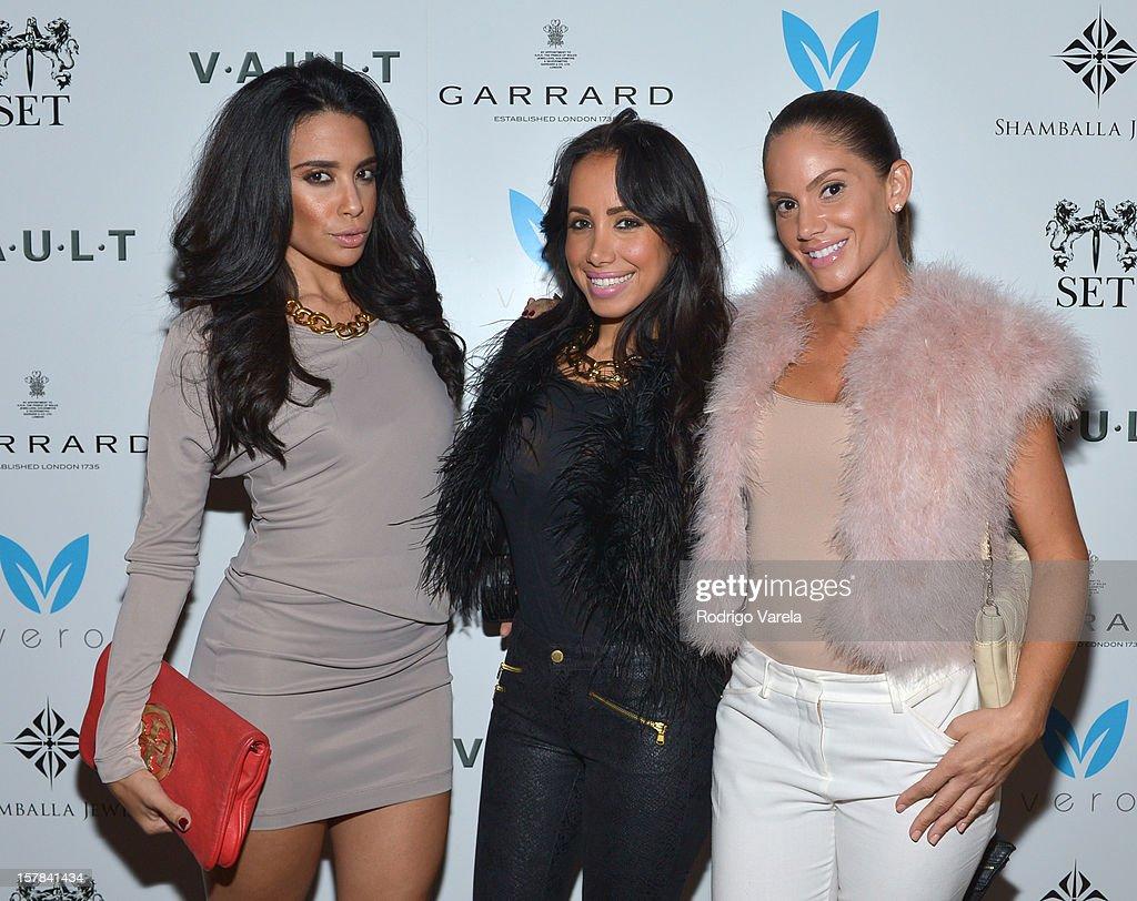Mirtha Michelle, Julissa Guzman and Rebeca Cabral attend the V.A.U.L.T. Art Basel Party on December 6, 2012 in Miami, Florida.