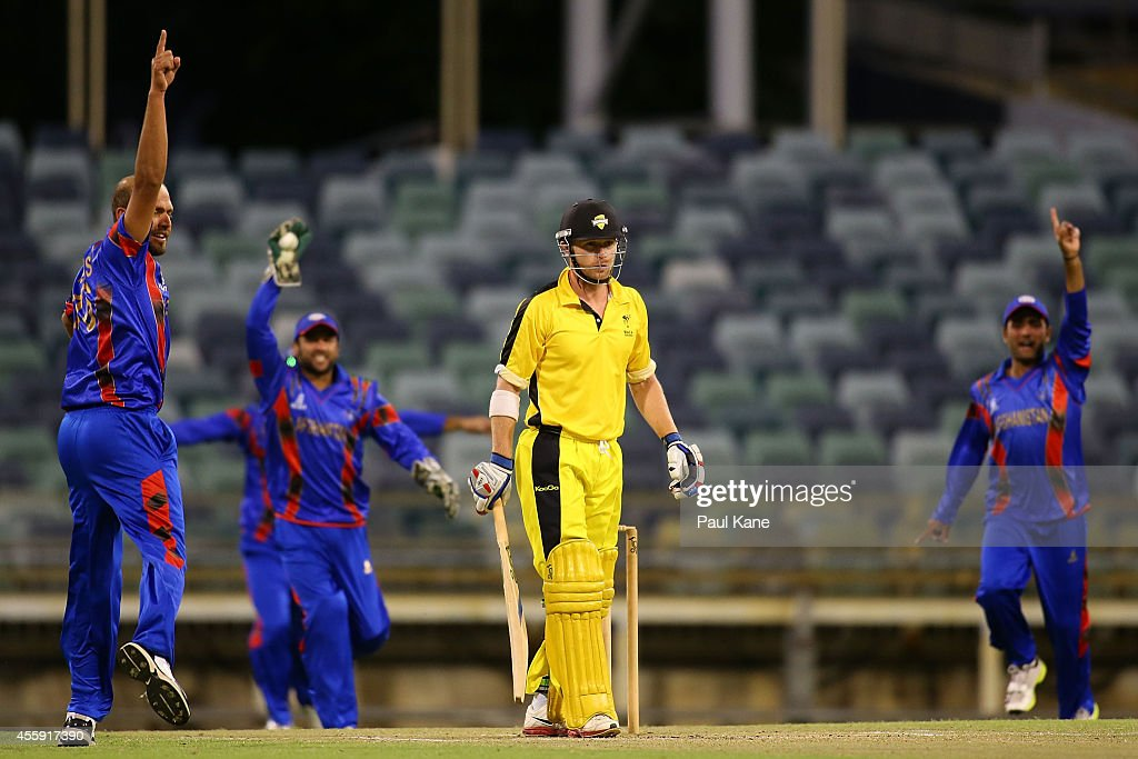 Mirwais Ashraf of Afghanistan appeals for the wicket of John Rogers of the WA XI during the One Day tour match between the Western Australia XI and Afghanistan at the WACA on September 22, 2014 in Perth, Australia.