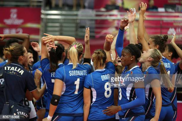 Miryam Fatime Sylla and team mates of Italy celebrate winning the semi final match between China and Italy during 2017 Nanjing FIVB World Grand Prix...