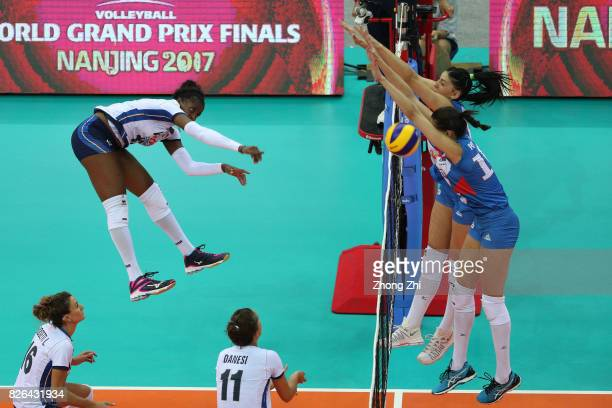 Miryam Fatime Sylla of Italy in action during the match between Serbia and Italy during 2017 Nanjing FIVB World Grand Prix Finals on August 4 2017 in...