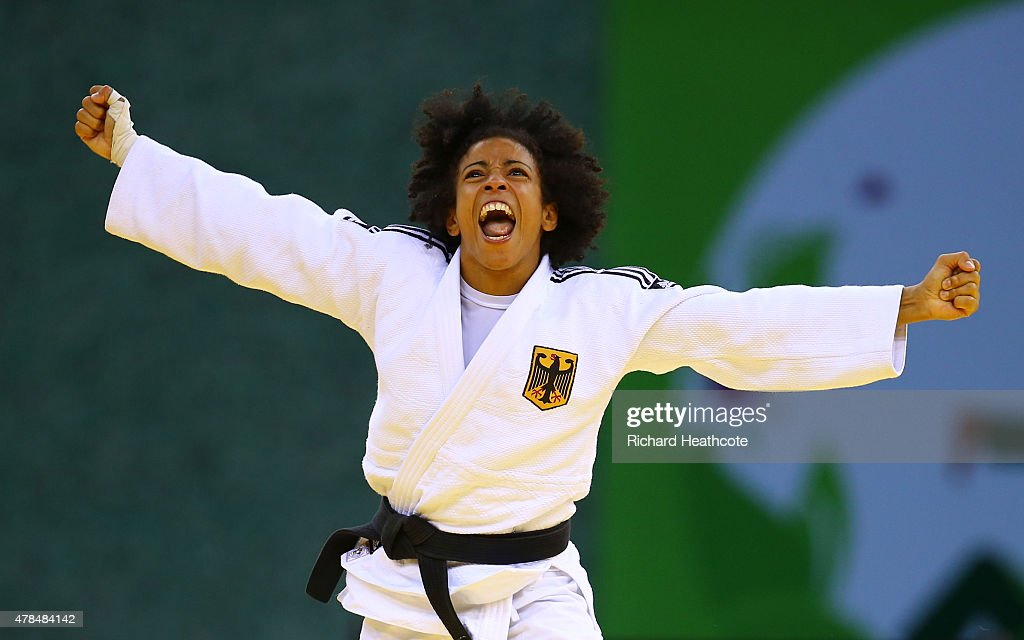 Miryam Roper of Germany celebrates victory over <a gi-track='captionPersonalityLinkClicked' href=/galleries/search?phrase=Automne+Pavia&family=editorial&specificpeople=7182223 ng-click='$event.stopPropagation()'>Automne Pavia</a> of France in the Women's Judo -57kg Bronze Final during day thirteen of the Baku 2015 European Games at the Heydar Aliyev Arena on June 25, 2015 in Baku, Azerbaijan.