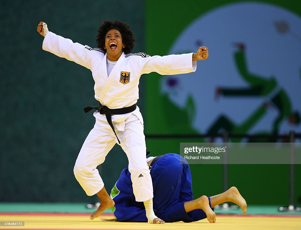 Miryam Roper of Germany (white) celebrates victory over <a gi-track='captionPersonalityLinkClicked' href=/galleries/search?phrase=Automne+Pavia&family=editorial&specificpeople=7182223 ng-click='$event.stopPropagation()'>Automne Pavia</a> of France (blue) in the Women's Judo -57kg Bronze Final during day thirteen of the Baku 2015 European Games at the Heydar Aliyev Arena on June 25, 2015 in Baku, Azerbaijan.