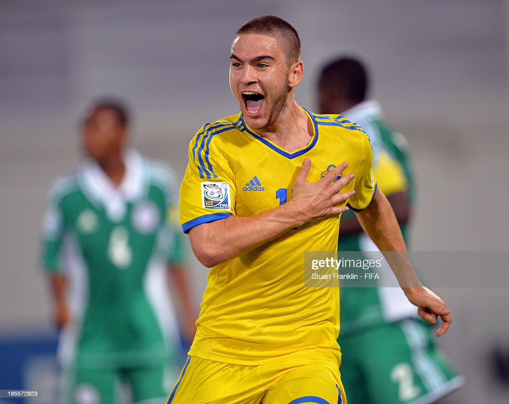 Mirza Halvadzic of Sweden celebrates scoring the third goal during the FIFA U17 group F match between Sweden and Nigeria at Khalifa Bin Zayed Stadium on October 22, 2013 in Al Ain, United Arab Emirates.