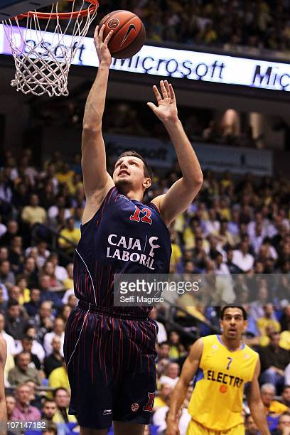Mirza Teletovic #12 of Caja Laboral in action during the 20102011 Turkish Airlines Euroleague Regular Season Date 6 game between Maccabi Electra Tel...