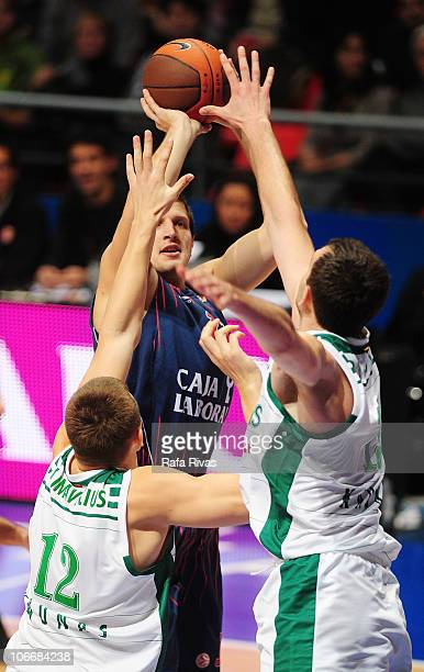Mirza Teletovic #12 of Caja Laboral in action during the Turkish Airlines Euroleague Day 4 game between Caja Laboral vs Zalgiris Kaunas at Fernando...