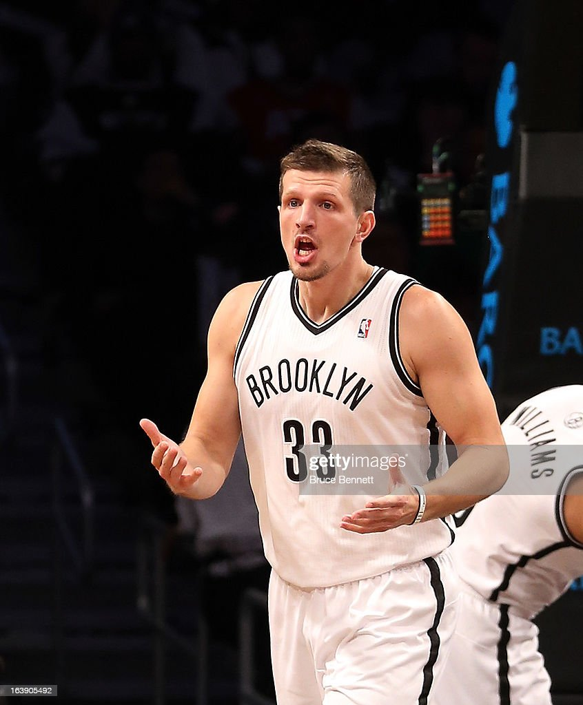 Mirza Teletovic #33 of the Brooklyn Nets argues a call during the game against the Atlanta Hawks at the Barclays Center on March 17, 2013 in New York City.