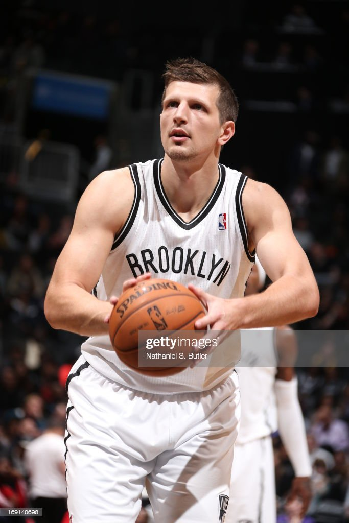 Mirza Teletovic #33 of the Brooklyn Nets shoots a free throw during the game against the Washington Wizards on April 15, 2013 at the Barclays Center in the Brooklyn borough of New York City.