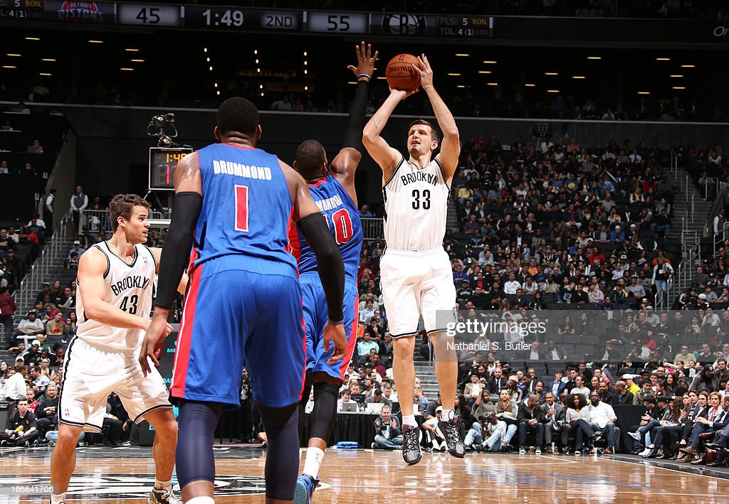 Mirza Teletovic #33 of the Brooklyn Nets shoots against the Detroit Pistons on April 17, 2013 at the Barclays Center in the Brooklyn borough of New York City.