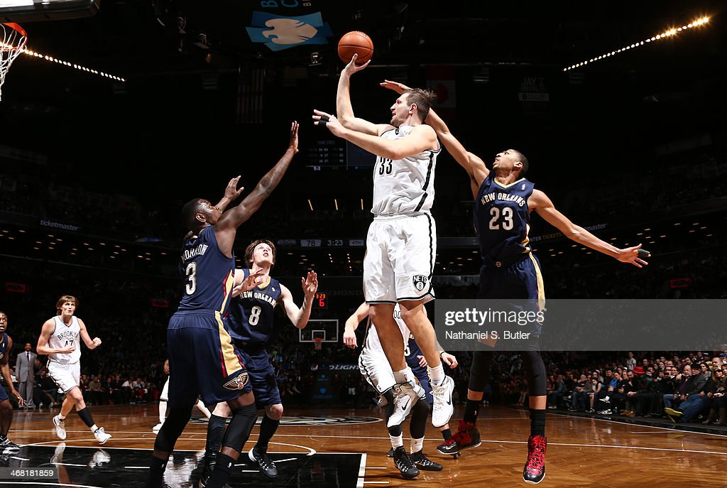 <a gi-track='captionPersonalityLinkClicked' href=/galleries/search?phrase=Mirza+Teletovic&family=editorial&specificpeople=2255667 ng-click='$event.stopPropagation()'>Mirza Teletovic</a> #33 of the Brooklyn Nets shoots against the New Orleans Pelicans during a game at the Barclays Center on February 9, 2014 in the Brooklyn borough of New York City.