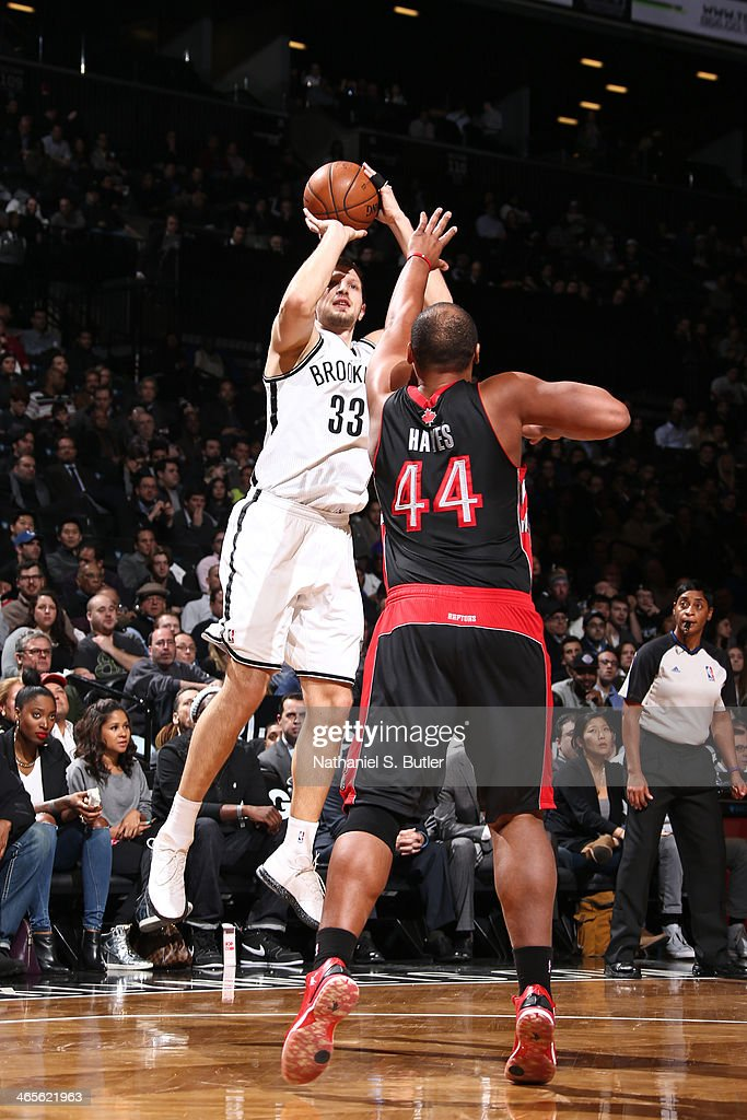 <a gi-track='captionPersonalityLinkClicked' href=/galleries/search?phrase=Mirza+Teletovic&family=editorial&specificpeople=2255667 ng-click='$event.stopPropagation()'>Mirza Teletovic</a> #33 of the Brooklyn Nets shoots against the Toronto Raptors during a game at Barclays Center in Brooklyn.