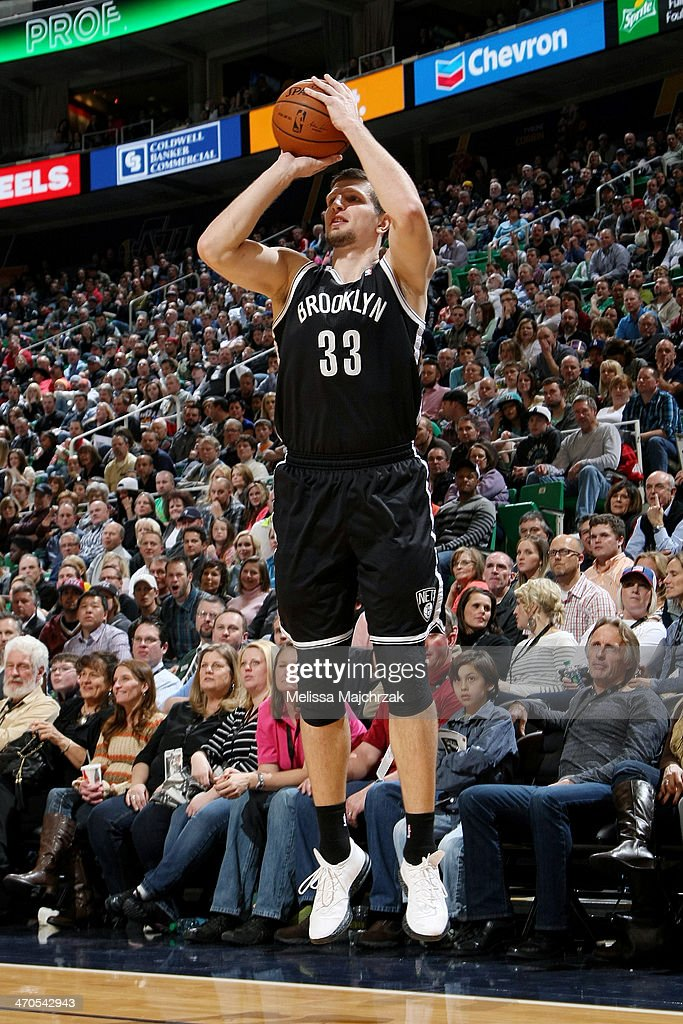 <a gi-track='captionPersonalityLinkClicked' href=/galleries/search?phrase=Mirza+Teletovic&family=editorial&specificpeople=2255667 ng-click='$event.stopPropagation()'>Mirza Teletovic</a> #33 of the Brooklyn Nets shoots against the Utah Jazz at EnergySolutions Arena on February 19, 2014 in Salt Lake City, Utah.