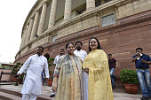 Misa Bharti RJD Rajya Sabha MP and daughter of Lalu Prasad Yadav with her sister Rohini Yadav at Parliament House on the opening day of the Monsoon...