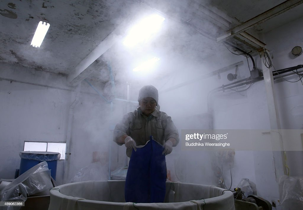 Misa Kawaisi, chief sake brew master add rice to steam container as preparation for brewing sake during the first day of sake production at Nadagiku-Shozo sake brewery on November 16, 2014 in Himeji, Japan. As winter approaches and the temperature falls, it comes to the best timing of a year for brewing rice wine, or Japanese sake.