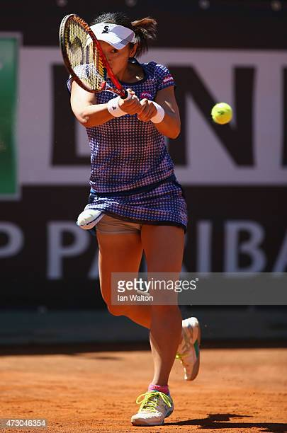 Misaki Doi of Japain in actio during her match against Alexandra Dulgheru of Romania on Day Three of the The Internazionali BNL d'Italia 2015 at the...