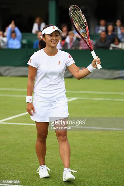 Misaki Doi of Japan celebrates victory during the Ladies Singles second round match against Kristyna Pliskova of Czech Republic on day four of the...