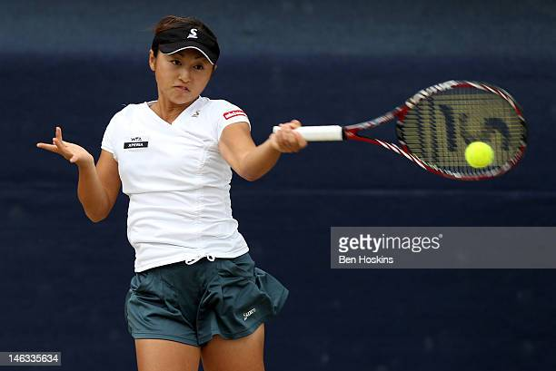 Misaki Doi of Japan hits a return during day four of the AEGON Classic at Edgbaston Priory Club on June 14 2012 in Birmingham England