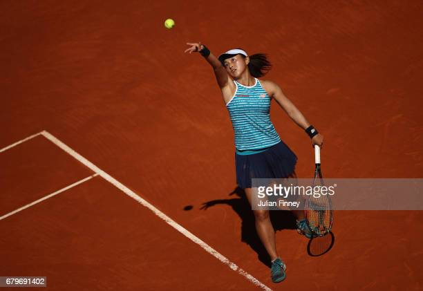 Misaki Doi of Japan in action against Madison Keys of USA during day one of the Mutua Madrid Open tennis at La Caja Magica on May 6 2017 in Madrid...