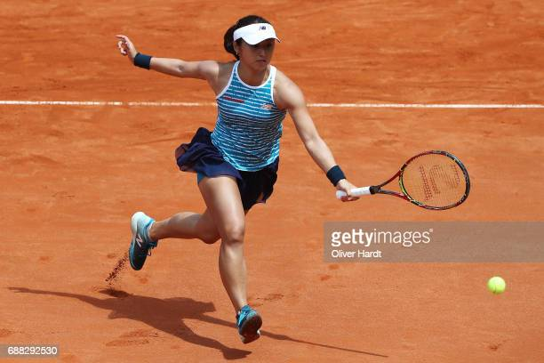 Misaki Doi of Japan in action against Yaroslava Shvedova of Kazakhstan in the quarter final during the WTA Nuernberger Versicherungscup on May 25...