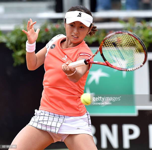 Misaki Doi of Japan in action in her match against Irina Camela Begu of Romania during day six of the The Internazionali BNL d'Italia 2016 on May 13...
