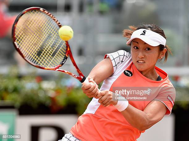 Misaki Doi of Japan plays a backhand in her match against IrinaCamelia Begu of Romania on Day Six of The Internazionali BNL d'Italia 2016 on May 13...