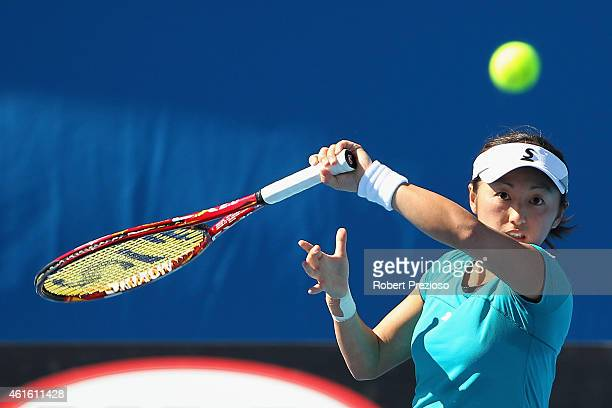 Misaki Doi of Japan plays a forehand in her qualifying match against Olga Govortsova of Belarus for 2015 Australian Open at Melbourne Park on January...