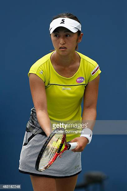 Misaki Doi of Japan plays against Agnieszka Radwanska of Poland during day four of the Bank of the West Classic at the Stanford University Taube...