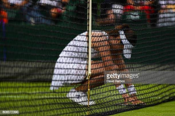 Misaki Doi of Japan reacts during her Ladies Singles first round match against Kristen Flipkins of Belgium on day two of the Wimbledon Lawn Tennis...