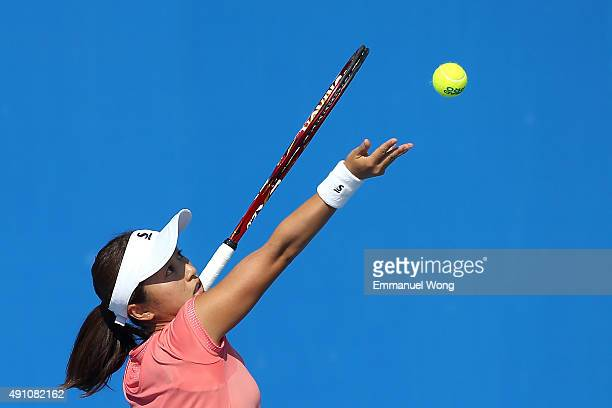 Misaki Doi of Japan serves against Lucie Hradecka of The Czech Republic during the day one of the 2015 China Open at the China National Tennis Centre...