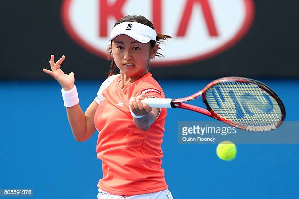 Misaki Doi plays a forehand in her first round match against Angelique Kerber during day two of the 2016 Australian Open at Melbourne Park on January...