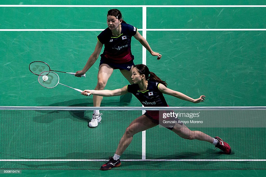 Misaki Matsumoto and <a gi-track='captionPersonalityLinkClicked' href=/galleries/search?phrase=Ayaka+Takahashi&family=editorial&specificpeople=8671069 ng-click='$event.stopPropagation()'>Ayaka Takahashi</a> of Japan in action in the women's doubles match against Naoko Fukuman and Kurumi Yonao of Japan during day one of the BWF Dubai World Superseries 2015 Finals at the Hamdan Sports Complex on on December 9, 2015 in Dubai, United Arab Emirates.