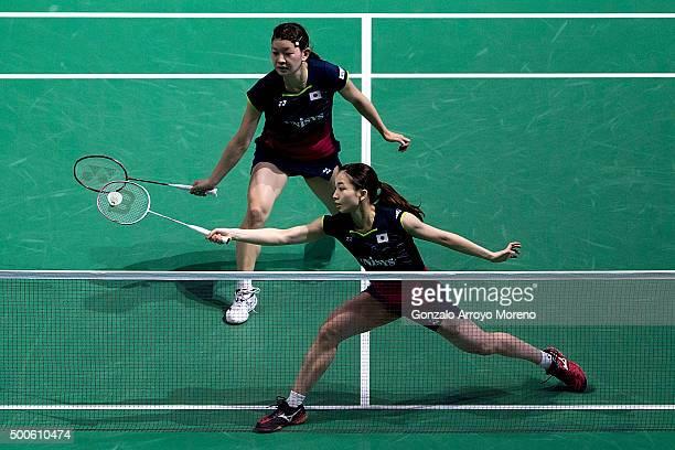 Misaki Matsumoto and Ayaka Takahashi of Japan in action in the women's doubles match against Naoko Fukuman and Kurumi Yonao of Japan during day one...