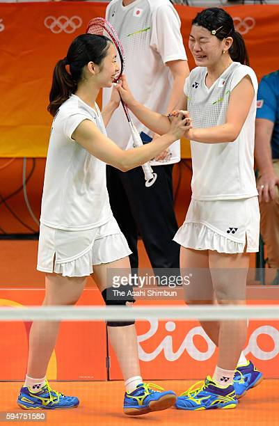 Misaki Matsutomo and Ayaka Takahashi of Japan celebrate after winning the gold medal in the Women's Doubles on Day 13 of the Rio 2016 Olympic Games...