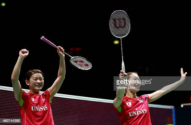 Misaki Matsutomo and Ayaka Takahashi of Japan celebrate beating Tian Qing and Zhao Yunlei of China in the Final of the Womne's Doubles on day five of...