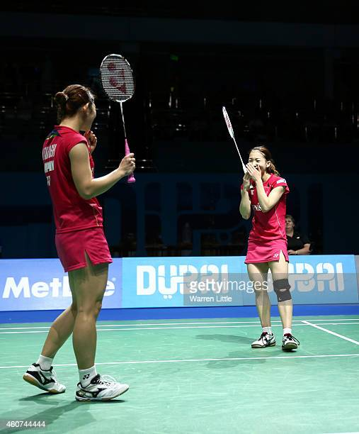 Misaki Matsutomo and Ayaka Takahashi of Japan celebrate beating Tian Qing and Zhao Yunlei of China in the Final of the Women's Doubles on day five of...