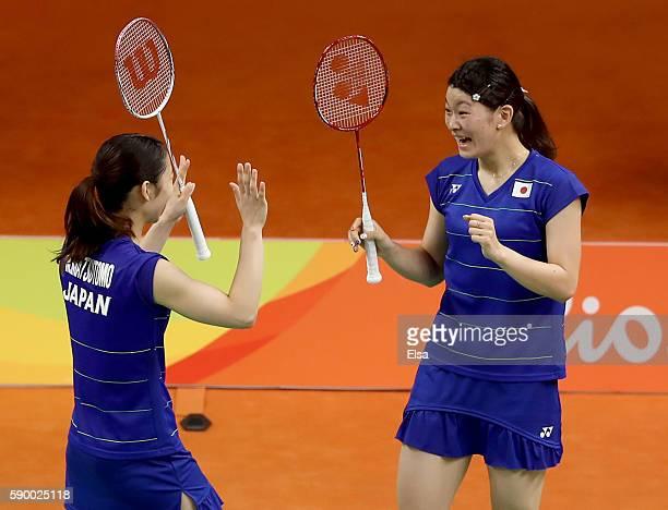 Misaki Matsutomo and Ayaka Takahashi of Japan celebrate their Doubles Semifinal match win over Kyung Eun Jung and Seung Chan of Korea on Day 11 of...
